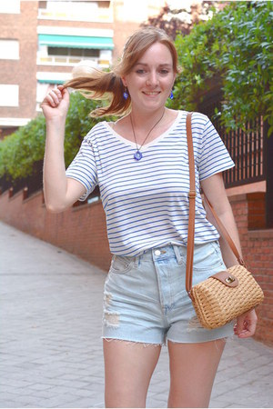 camel Primark bag - light blue H&M shorts - white Lefties t-shirt