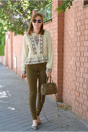 cream Rosegal shirt - olive green Paco Martinez bag - brown MR BOHO sunglasses
