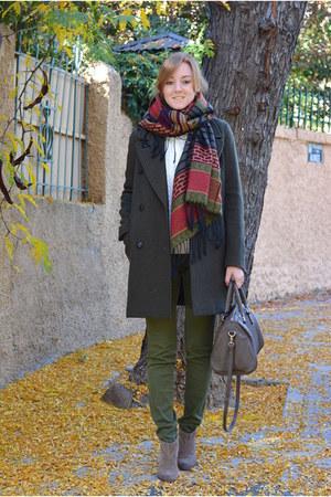 crimson Mulaya scarf - dark khaki Mango boots - dark green Pull & Bear coat