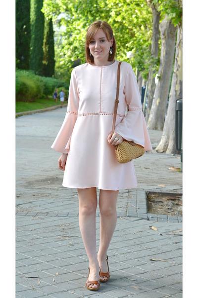 pink zaful dress - camel Primark bag - bronze Chiara future heels