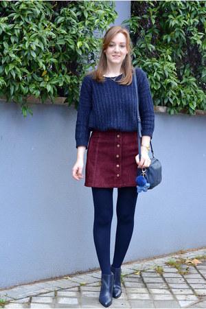 brick red Stradivarius skirt - navy DaDa boots - navy Mango sweater