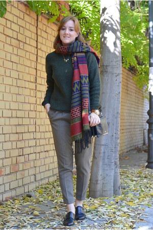 brick red Mulaya scarf - black DaDa shoes - dark green Primark sweater