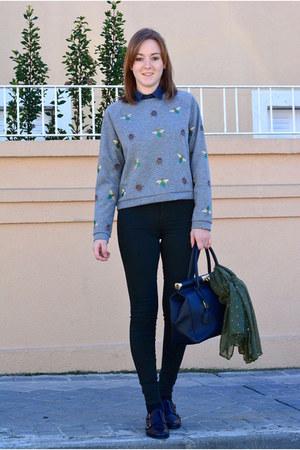 heather gray H&M sweatshirt - gray Pull & Bear shirt - olive green Primark scarf