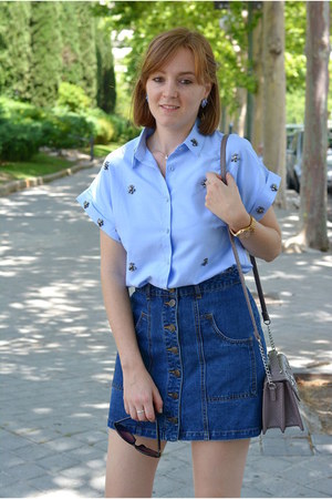 blue Stradivarius skirt - sky blue zaful shirt - light purple Primark bag