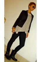 black H&M jacket - neutral H&M sweater - black H&M boots - black American Appare