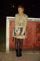 black H&M boots - beige H&M coat - black no brand bag - green handmade accessori