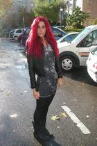 black Zara jacket - gray H&M dress - black H&M panties - black allsaints boots