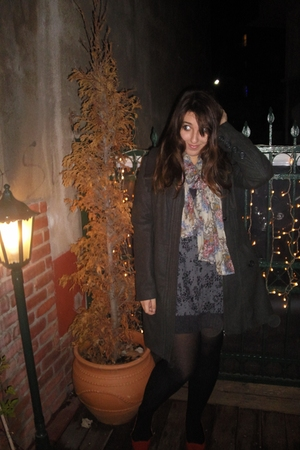 Pull and Bear scarf - Mango dress - H&M tights - Pull and Bear coat
