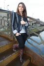 Brown-les-lolitas-boots-black-zara-jeans-gray-target-top-blue-zara-blazer