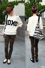 Black-c-a-shoes-cream-xoxo-print-tally-weijl-sweater