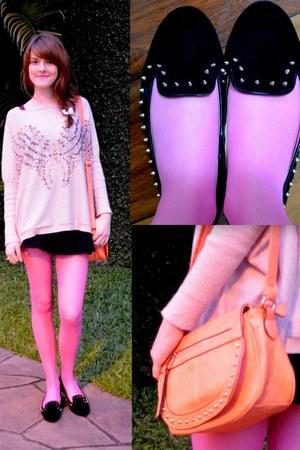 light pink random brand sweater - bubble gum Renner tights - salmon bag