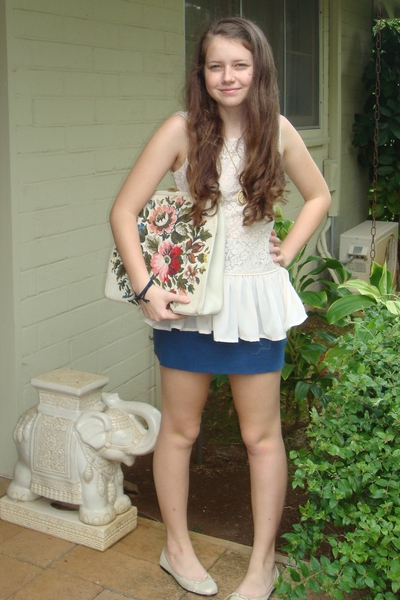 H&M top - aa skirt - accessories - London Sole shoes - vintage necklace