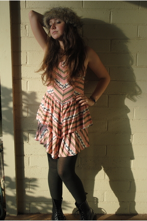 pink Urban Outfitters dress - black Gap tights - black doc martens boots - brown