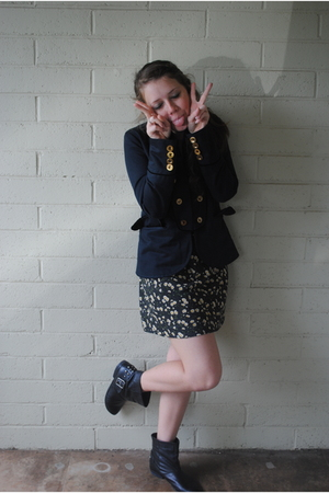 blue Marc by Marc Jacobs blazer - black Goodwill dress - black Topshop boots