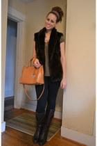 dark brown Ralph Lauren boots - navy hollister jeans