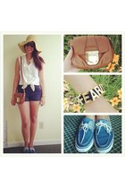 blue Sperrys shoes - neutral Target hat - brown Michael Kors bag