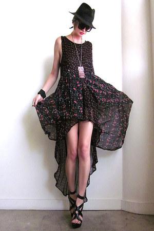 black fishtail hem Girl On A Vine dress