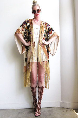 tan velvet fringe Girl On A Vine cardigan