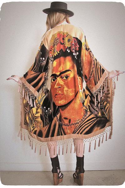 tan velvet kimono Girl On A Vine jacket