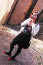 Red-shoes-black-cotton-on-skirt-brown-myer-shirt-white-vintage-cardigan-