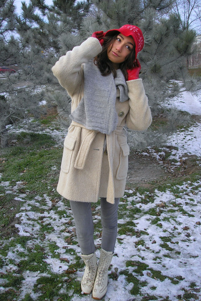 ivory Helly Hensen boots - ivory llama Marc Jacobs coat - silver acne jeans