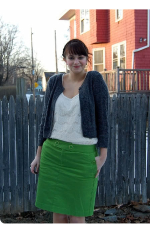 green Banna Republic skirt - white Forever 21 shirt - gold Target shoes - gray H