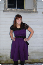 purple Forever 21 dress - black Forever 21 top - black Target tights - black thi