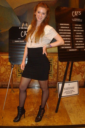 black Forever 21 shoes - black Target tights - black TJ Maxx skirt - beige TJ Ma