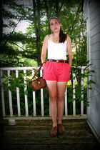 white H&M top - pink Ralph Lauren shorts - brown Jeffrey Campbell shoes - brown