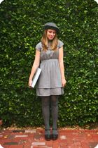 gray American Apparel hat - gray Tulle dress - gray Target stockings - black Jef