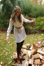 White-vintage-dress-beige-h-m-belt-brown-lord-taylor-tights-brown-jeffre