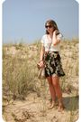 White-urban-outfitters-blouse-black-urban-outfitters-skirt-beige-urban-outfi