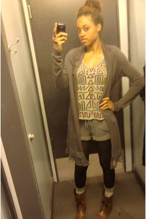 Topshop shorts - Steve Madden boots - sweater - Forever 21 shirt