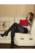 black boots - black tights - ruby red purse - black leather shorts