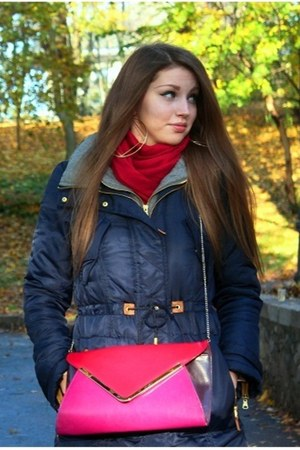 red new look purse - navy Zara jacket - ruby red scarf