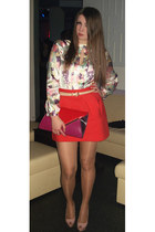 carrot orange Zara skirt - ruby red multicolored new look purse