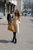 beige coat - black boots - camel bag - dark green pants