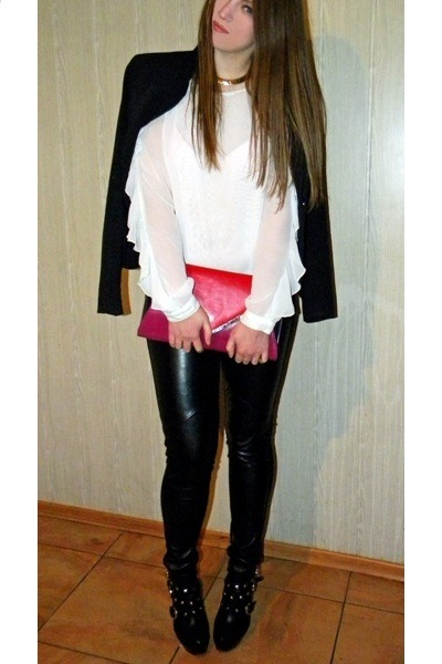 black rocker boots - black Mango blazer - ruby red new look purse