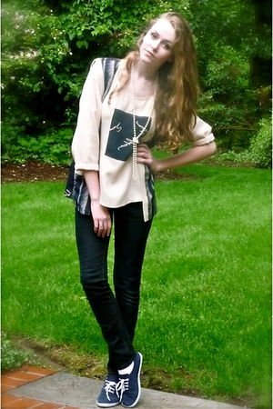 beige thrifted blouse - blue keds knockoffs Urban Outfitters shoes