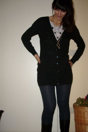black H&M cardigan - black Zara boots - black Bik Bok leggings - Monki t-shirt -