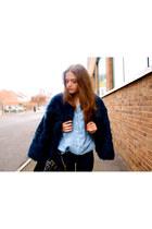 faux fur Zara jacket - Zara shirt - YSL bag