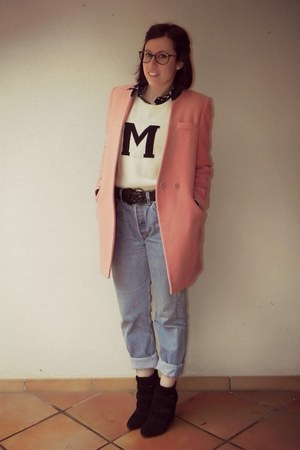 pink OASAP coat - black Stradivarius boots - blue denim Levis jeans