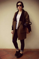 dark brown Zara coat - black asos shoes - navy Oviesse jeans - H&M bag