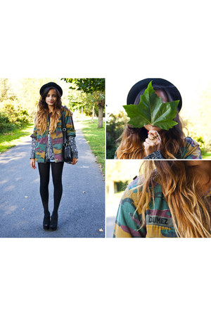 camo dads jacket - H&M hat - new look wedges