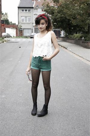 denim shorts second hand shorts - polka dots H&M tights