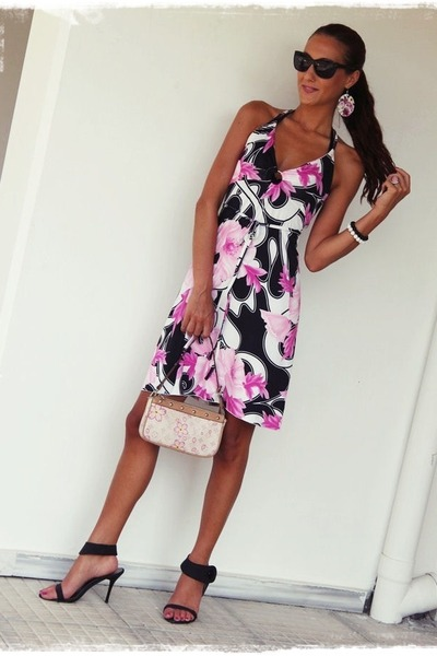 floral print dress - white leather Louis Vuitton purse - black H&M sunglasses