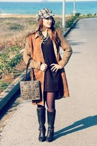 brown knitted coat - dark brown Metro boots - dark brown Sasch dress - tweed hat