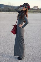 charcoal gray maxi Terranova dress - plaid boots - plaid hat - brick red bag