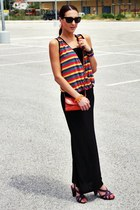 black maxi skirt Terranova skirt - burnt orange fullah sugah purse