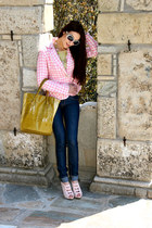 bubble gum houndstooth blazer - chartreuse sweater - navy denim leggings
